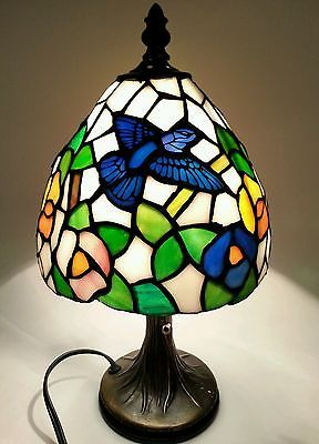 Tiffany Style Stained Glass Small Table Bronze Accent Lamp Hummingbirds Flower