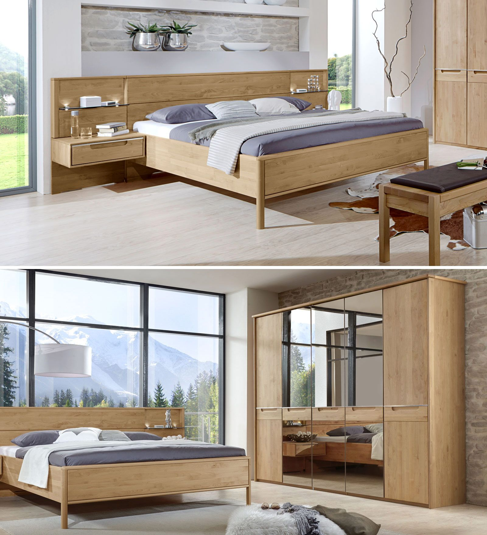 Preiswerte Schlafzimmer Komplett   Bett Eichenbalken Bauen