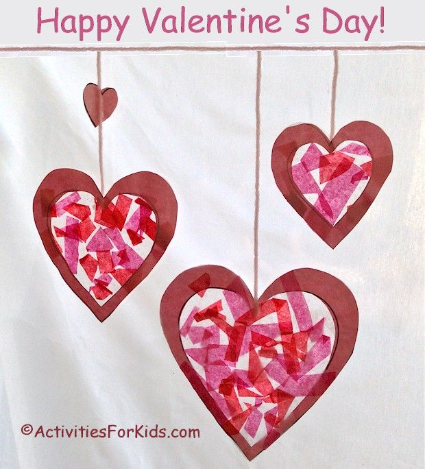 Hearts stained glass sun catcher for Valentine's Day.  Printable heart template at ActivitiesForKids.com