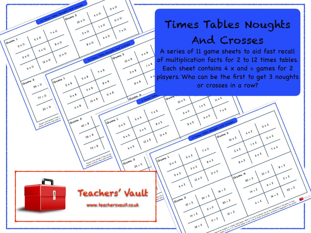 Times Tables Noughts And Crosses | Ks3 maths, Times tables and Math ...