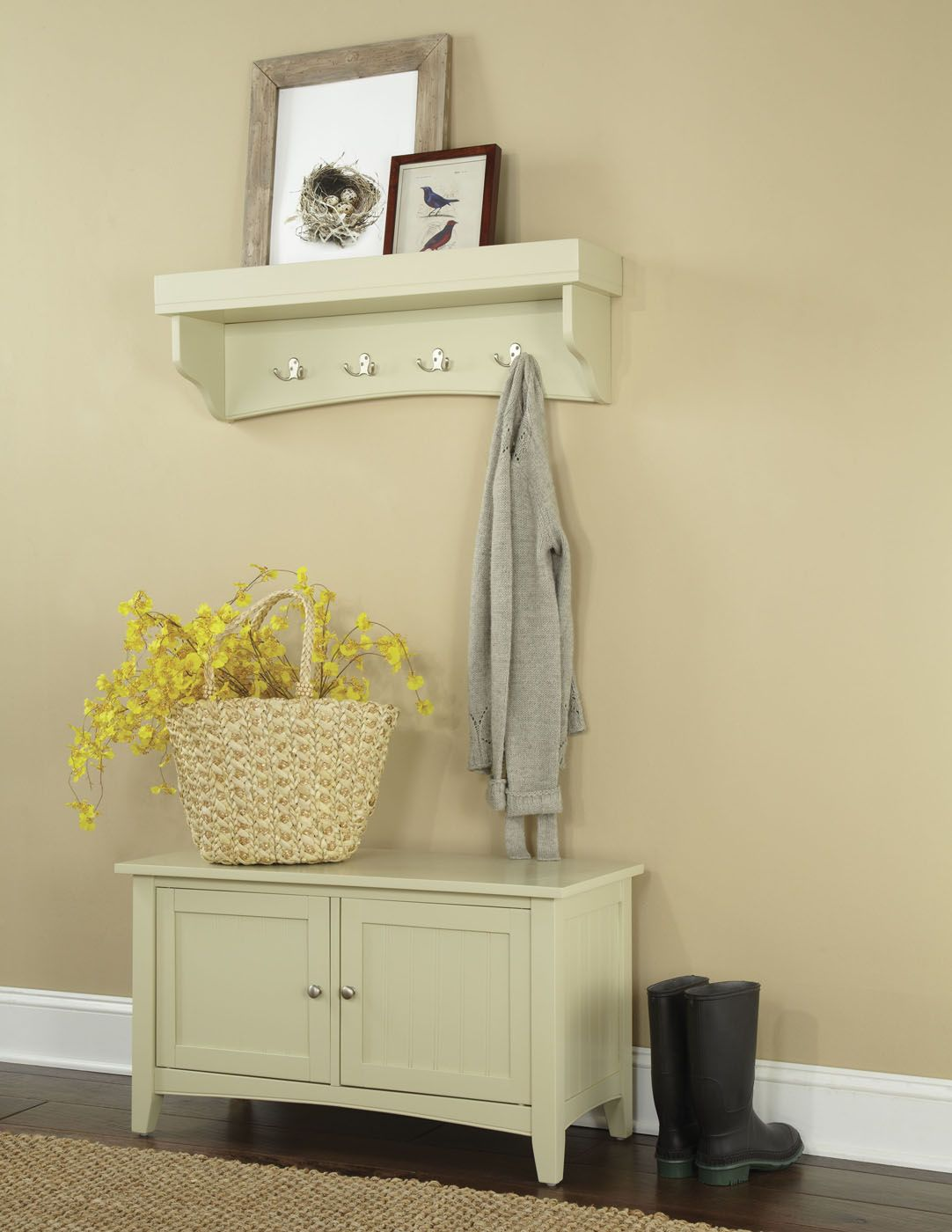 The Shaker Cottage wall hanging Coat Hook with Tray / Shelf and ...