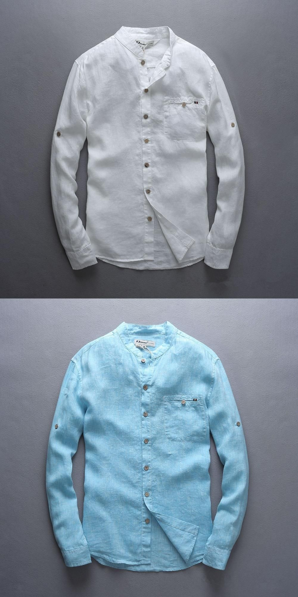 0f3a550b80 Italy style 100% linen shirt men long sleeve casual men shirt big size  chest 124