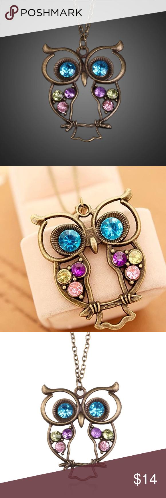 Vintage Bronze Rhinestone Owl Necklace Bronze owl necklace. With colorful rhinestones. Jewelry Necklaces