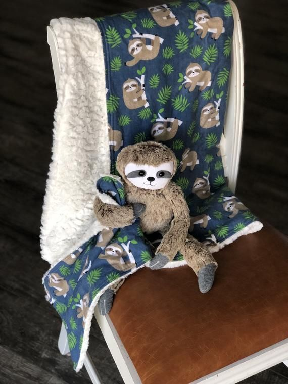 Stuffed Plush Sloth with flannel Sloth Print and faux Fur Baby blanket and Lovey / security blanket / stuffed toy #securityblankets