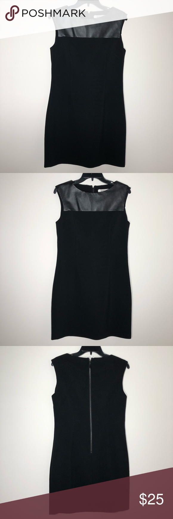 Laundry by Design Black Dress with Faux Leather Laundry by Design Black Dress with Faux Leather  Condition: Good, no stains. Small hole in faux leather (very small) and repaired loose stitching under armpit. See photos.  Measurements: see photos   Fabric: see photos  #1192 Laundry by Design Dresses