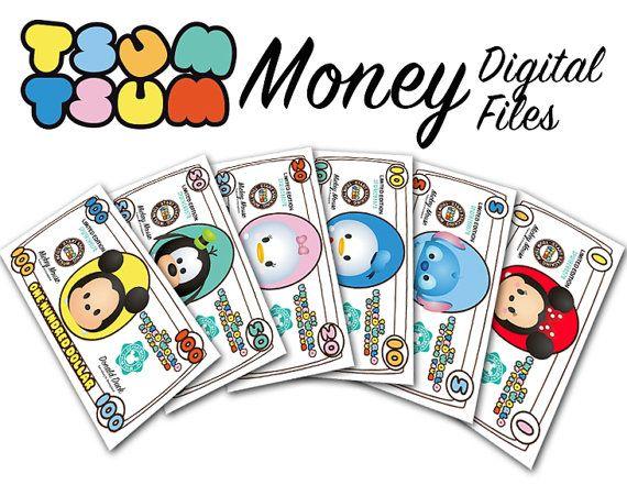 tsum tsum party theme play money in 1 5 10 20 50 100 dollars rh pinterest com Money Clip Art for Teachers Cartoon Money Clip Art