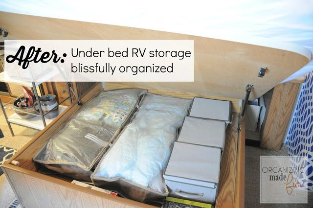 AFTER: Under Bed RV Storage Blissfully Organized With @tidyliving Underbed Storage Bins | Rv Storage, Small Spaces, Vintage Campers For Sale