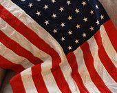 Vintage 48 Star Flag. Antique 48 Star United States Flag. Vintage Cotton Flag World War II Vintage Old Glory.Vintage American Flag. Old Flag