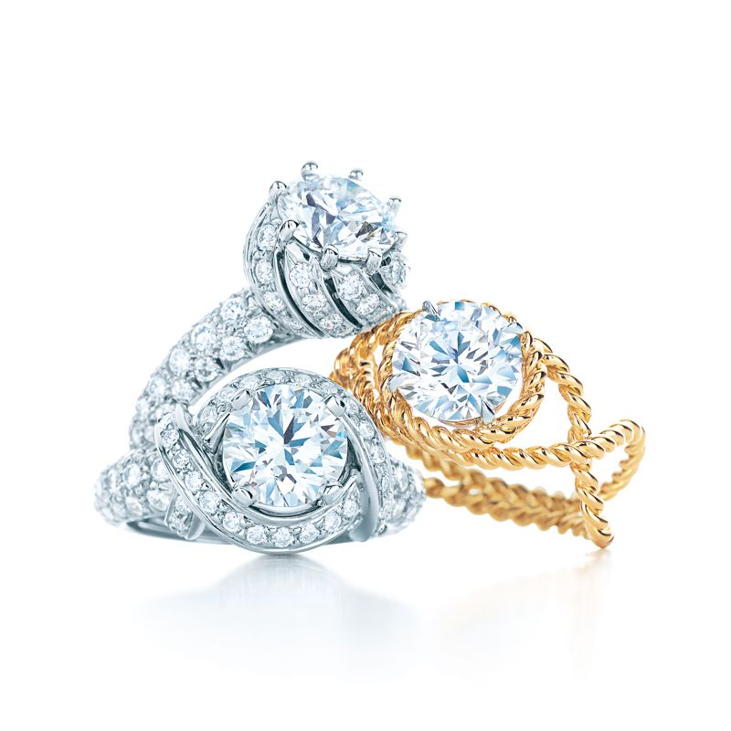 Tiffany & Co. Schlumberger® Buds ring, Rope ring and engagement ring. #TiffanyPinterest #TiffanyWeddings #Diamond