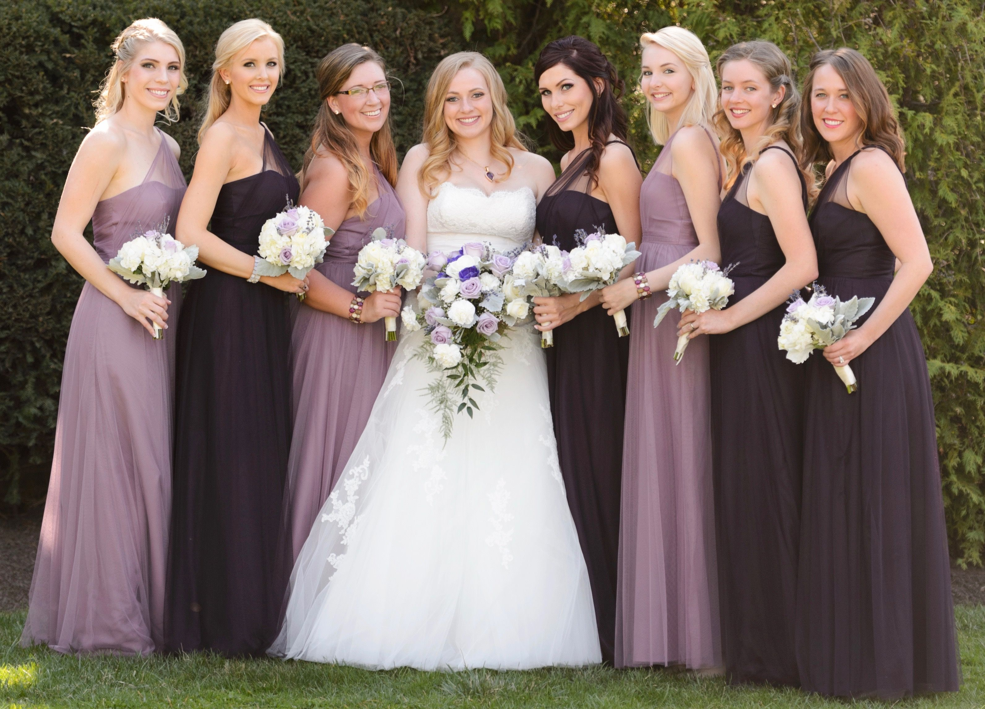 Bridesmaids in alfred angelo modern vintage style 8615l in plum bridesmaids in alfred angelo modern vintage style in plum and wisteria lavender purple eggplant dresses ombrellifo Images