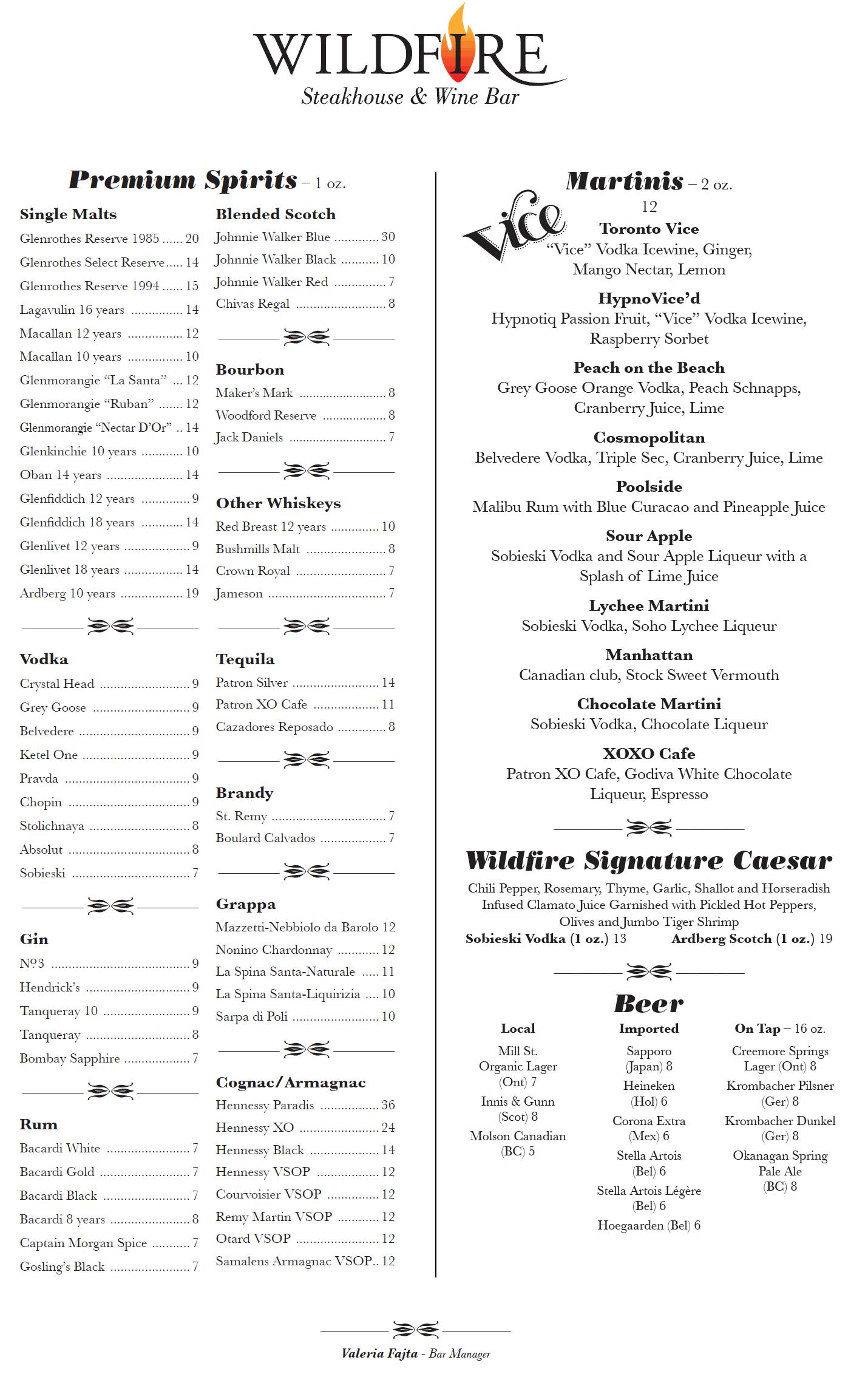 Wildfire Steakhouse & Wine Bar Menu - Spirits | food menu ...