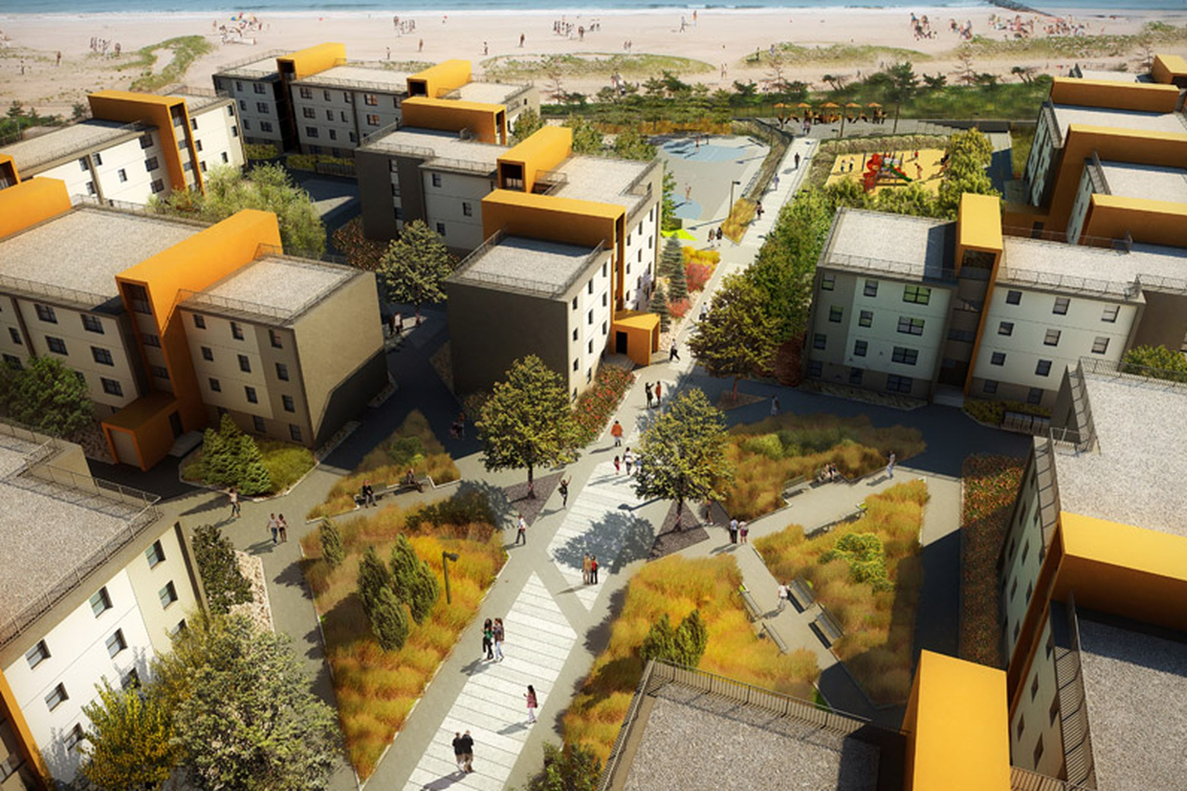 Redevelopment Gives New Life To Rockaway S Ocean Village Social Housing Architecture Cool Landscapes Traditional Landscape