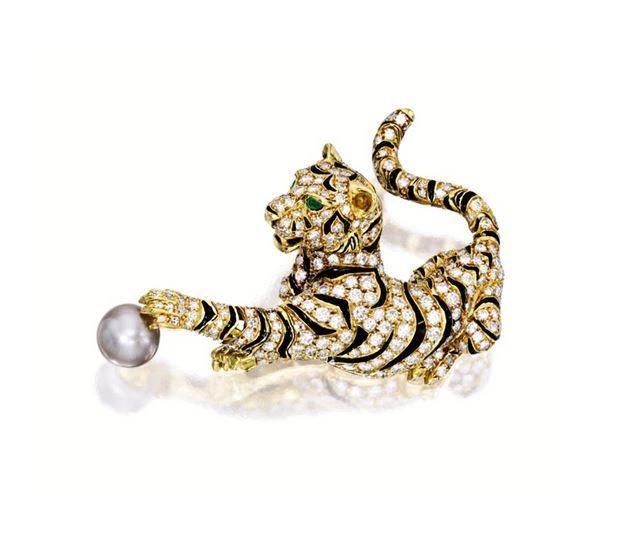 Natural pearl, enamel and diamond 'tiger' brooch, Van Cleef & Arpels. Photo Sotheby's