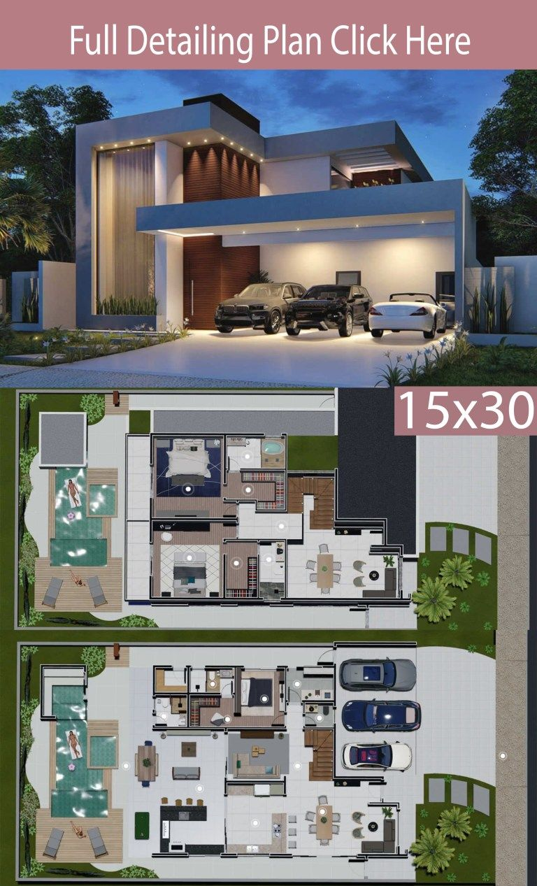 Home Design 15x30 Meters 3 Bedrooms Home Ideas Home Design Floor Plans Architectural House Plans Modern House Floor Plans