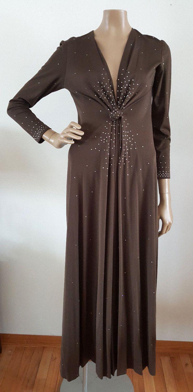 S us vintage rhinestone embellished long sleeve disco boho maxi