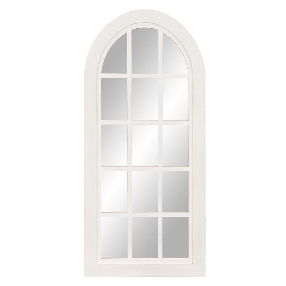Pinnacle Patton Farmhouse Arch Windowpane White Decorative Mirror Decor Rustic Wall Mirrors Mirror