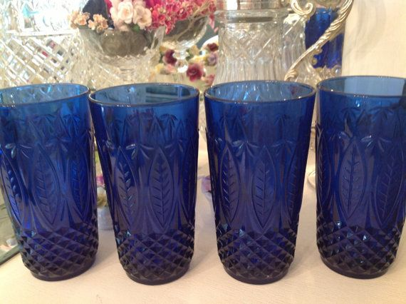 Royal Blue Cobalt Blue Drinking Glasses Made In France Arcoroc Collectible Blue Drinking Glasses Cobalt Glassware Cobalt Blue