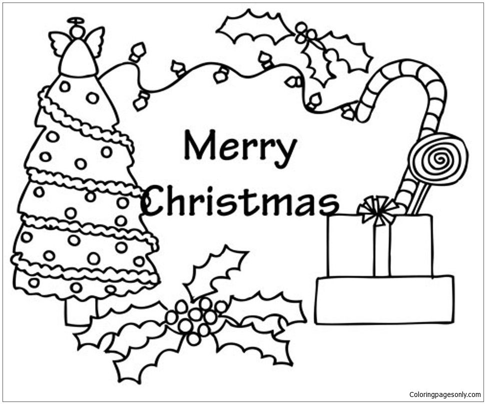 Christmas Tree And Presents Coloring Page | Christmas Coloring Pages ...