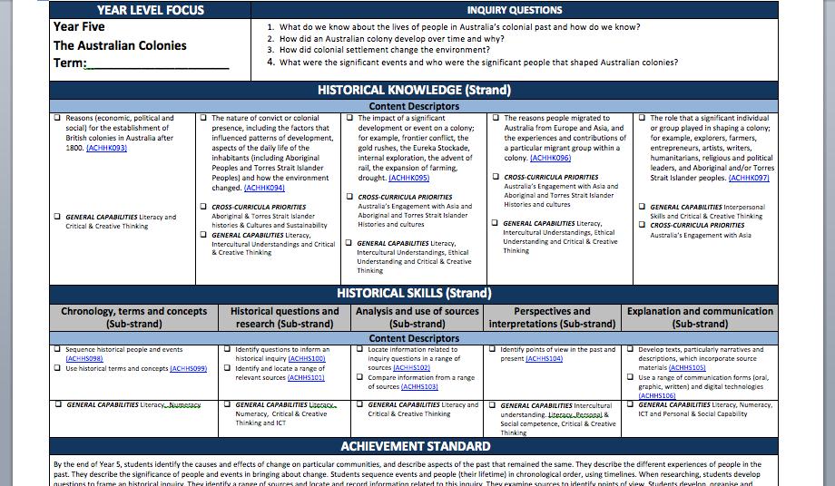 curriculum planning history