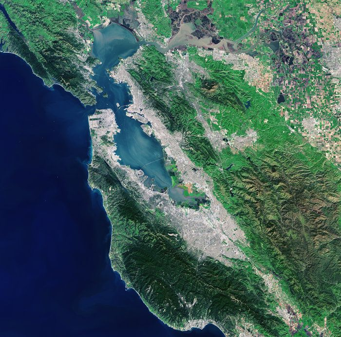 San Francisco Map Richmond District%0A The Landsat  satellite captured this image of the San Francisco Bay Area  in the