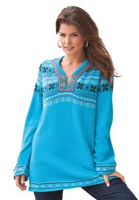 Fair Isle Tunic Sweater | Plus Size Sweaters | Roamans | fashion ...
