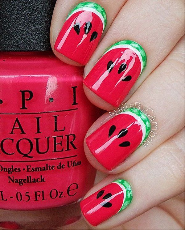 40 gorgeous crescent moon nails watermelon designs moon design moon nails this watermelon design prinsesfo Images