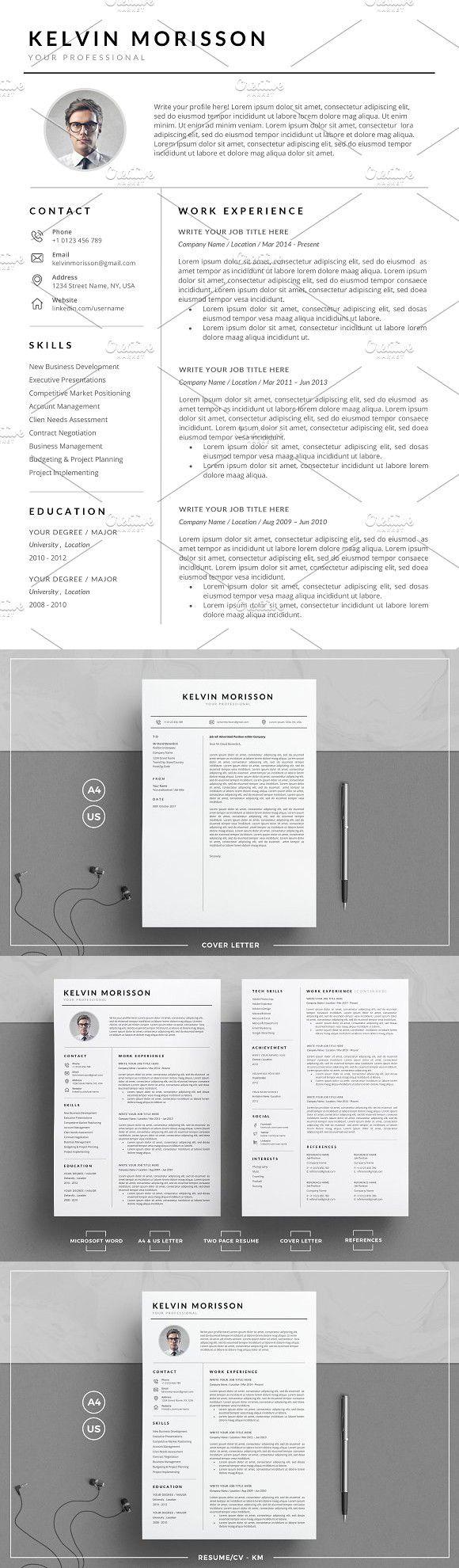 Resume/CV CM Simple resume template, Microsoft word