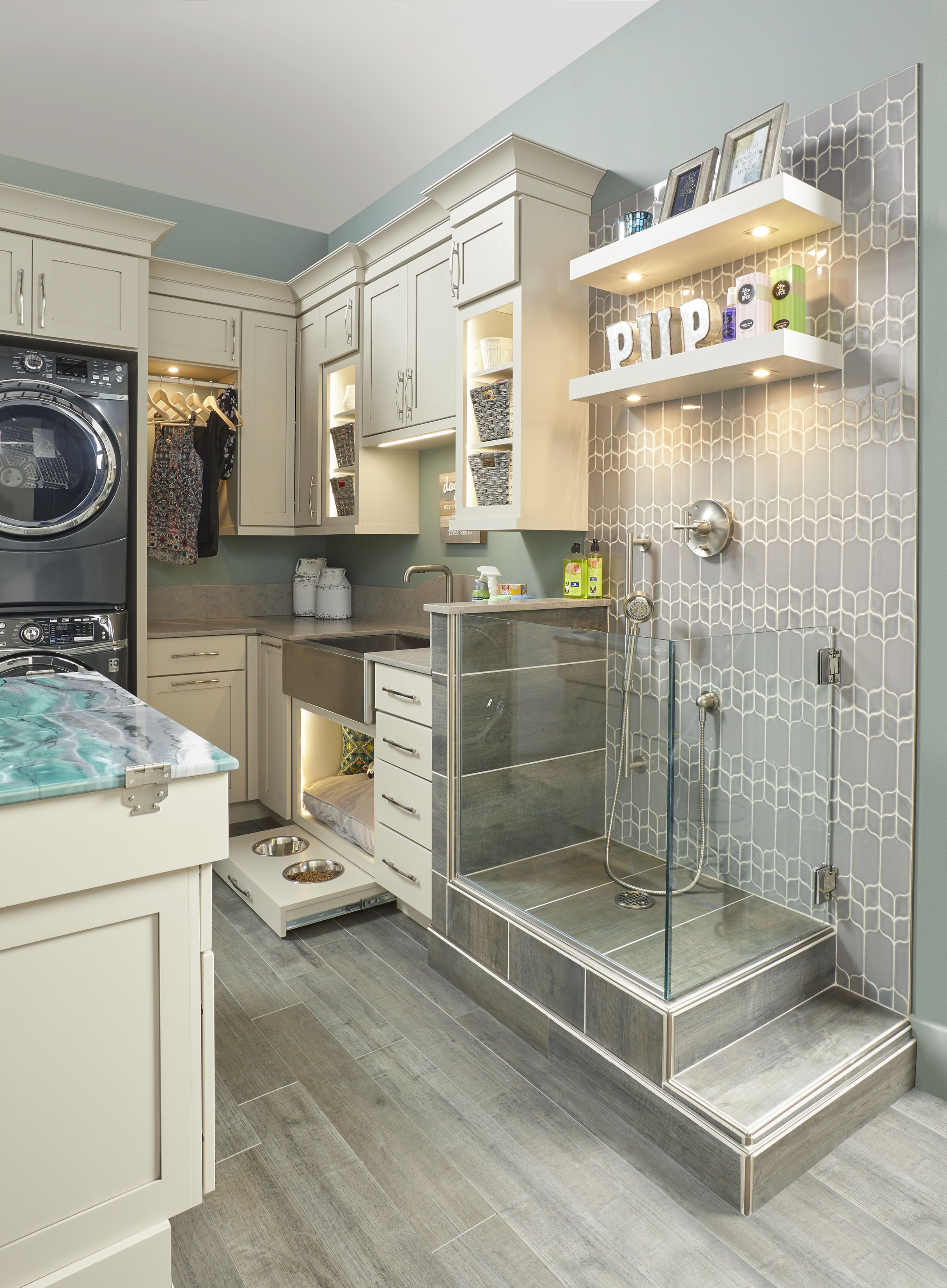 Pamper The Pooches In Your Life With A Wellborn Cabinet Dog Spa In the Laundry Room