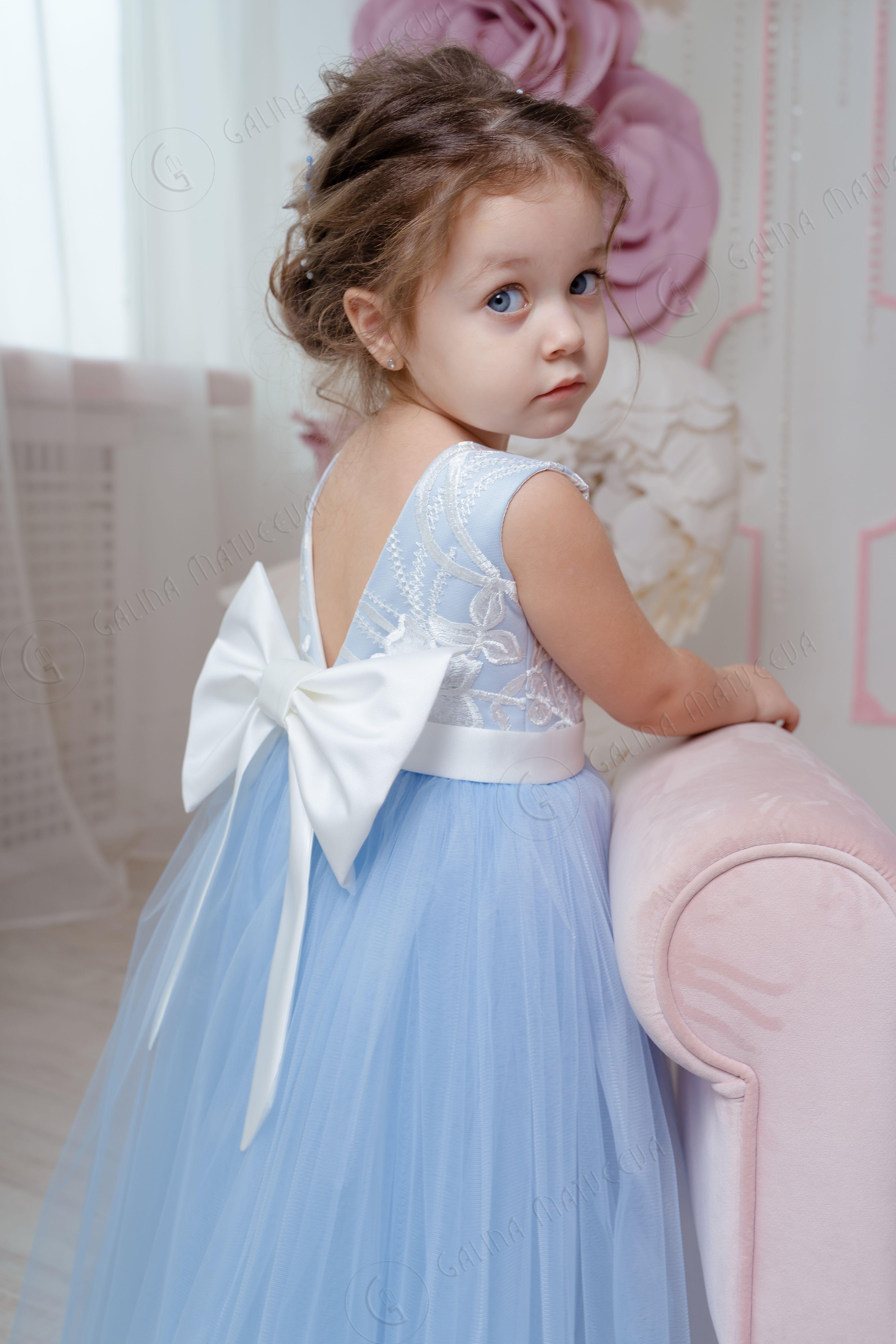Dusty Blue Flower Girl Dress V-neckline Back Bow -   19 dress Flower Girl blue ideas