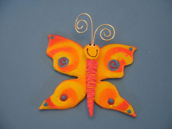 Colorful Whimsical Butterfly Garden Decor By PondScumCeramics