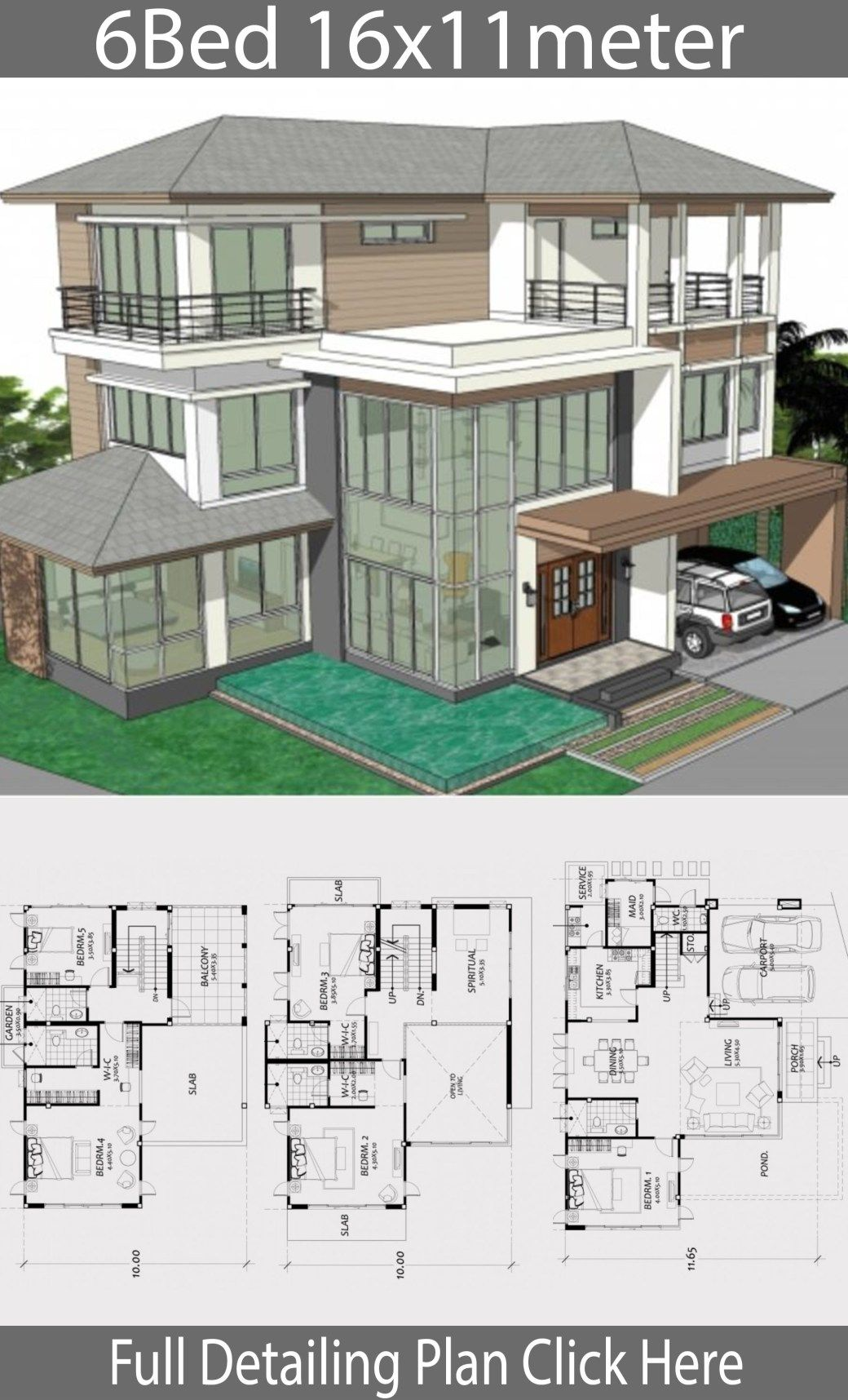 Home design plan 16x11m with 6 bedrooms - House Idea ...