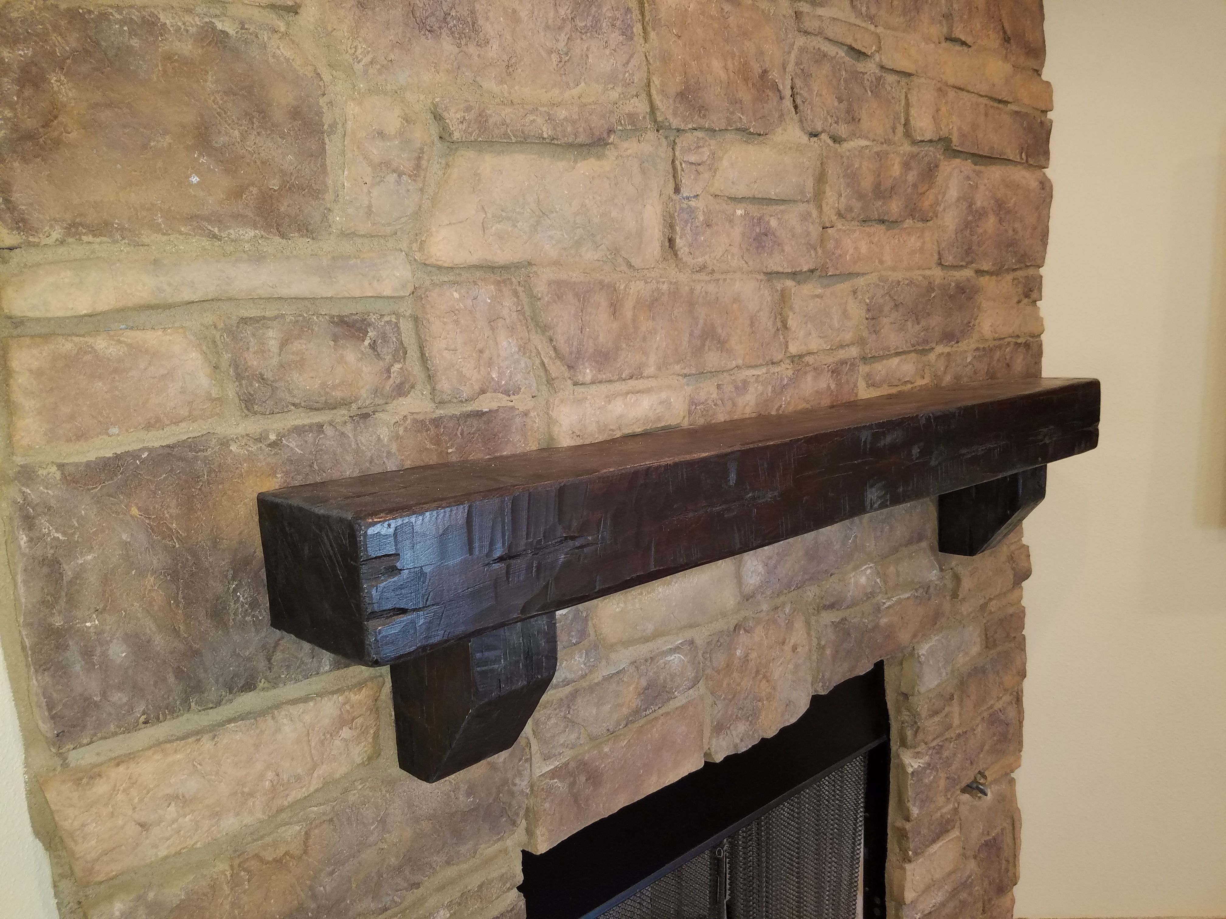 Distressed Alder Mantel With Corbels Installed On Stone Wood Mantel Shelf Beams How To Distress Wood