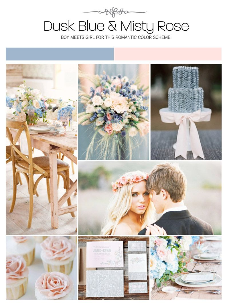 Dust blue and misty rose (blue and pink) wedding inspiration board ...
