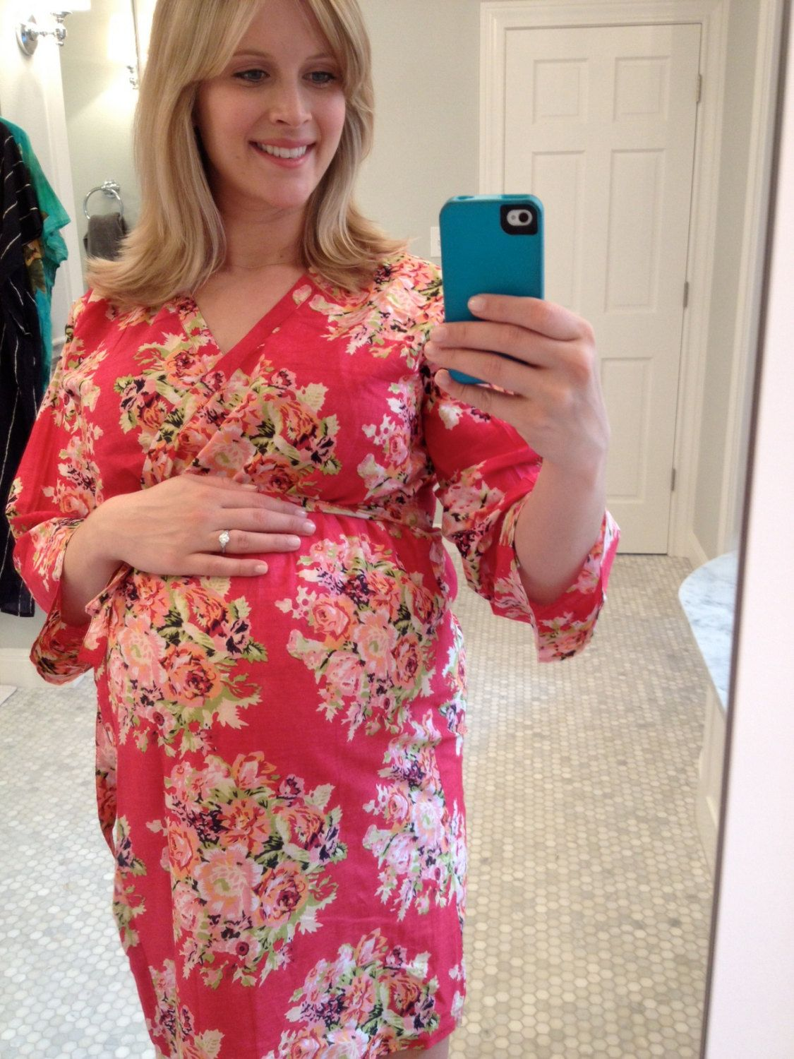 Maternity Hospital Gown Delivery Robe - Red - Perfect as labor delivery gown, nursing mothers, for moms & to be moms, Pregnancy Photoprops. $30.00, via Etsy.