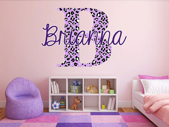 Custom Color Cheetah Monogram Name Girls Room Vinyl By StickerHog