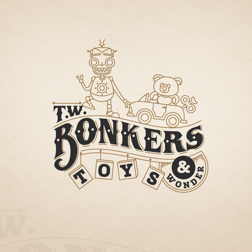 LOGO t.w. Bonkers retail toy store. Its a Toy store for kids of all ages, but mostly appealing to kids.