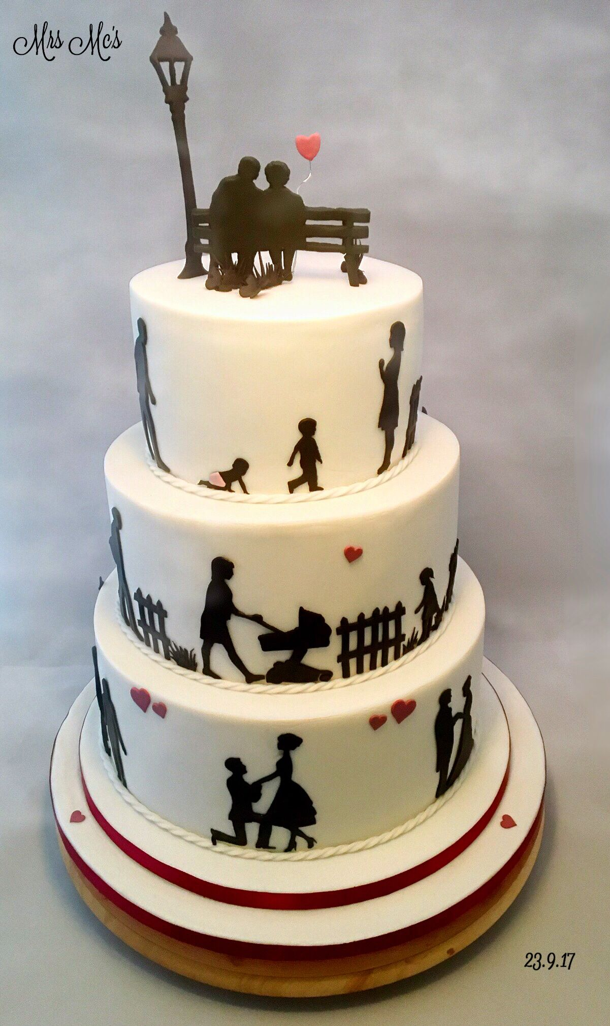 Life Story 3 Tier Silhouette Cake 60th Anniversary Cakes