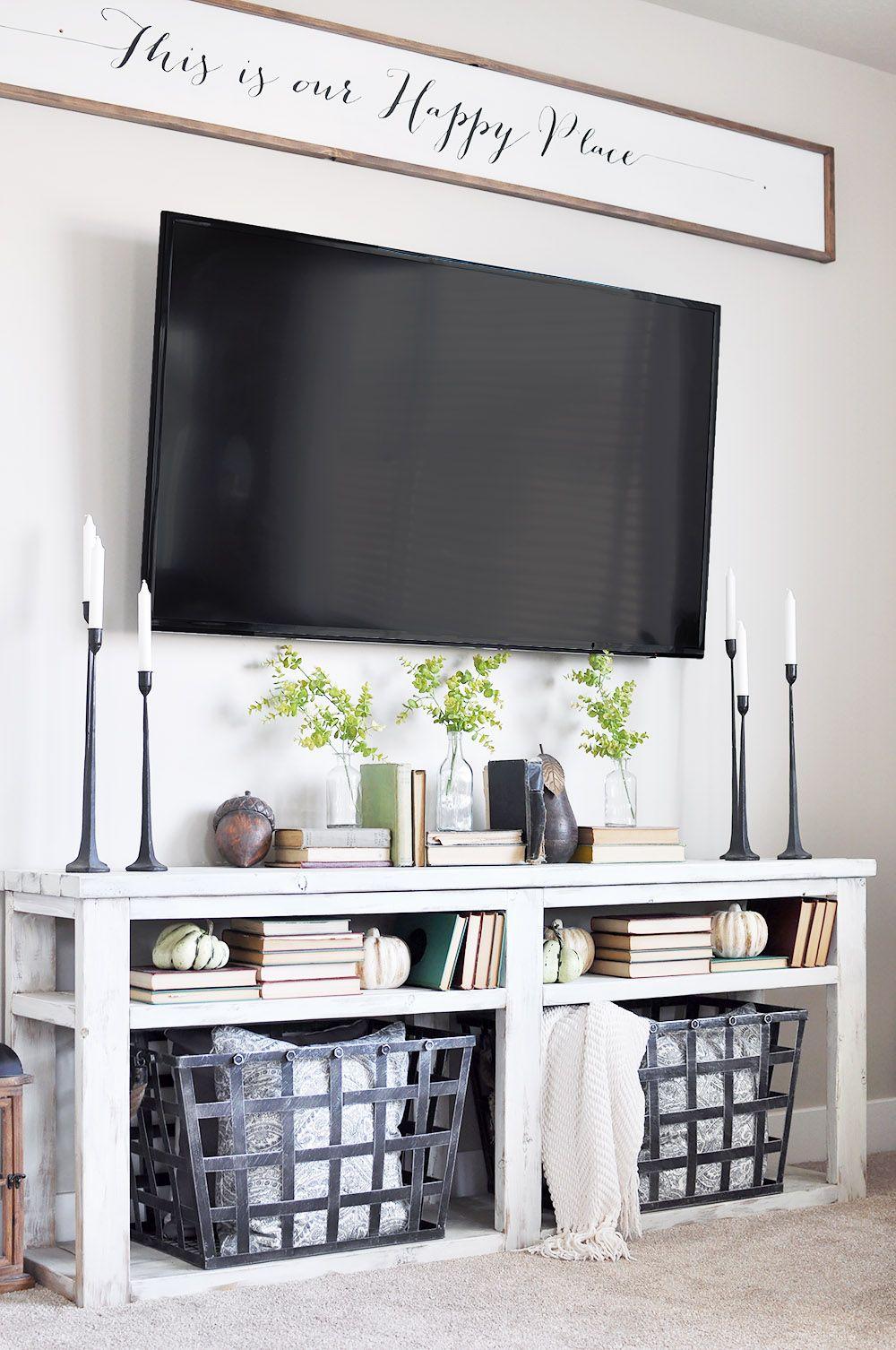Simple Early Fall Mantel | Living room tv, Tv decor, Home ...