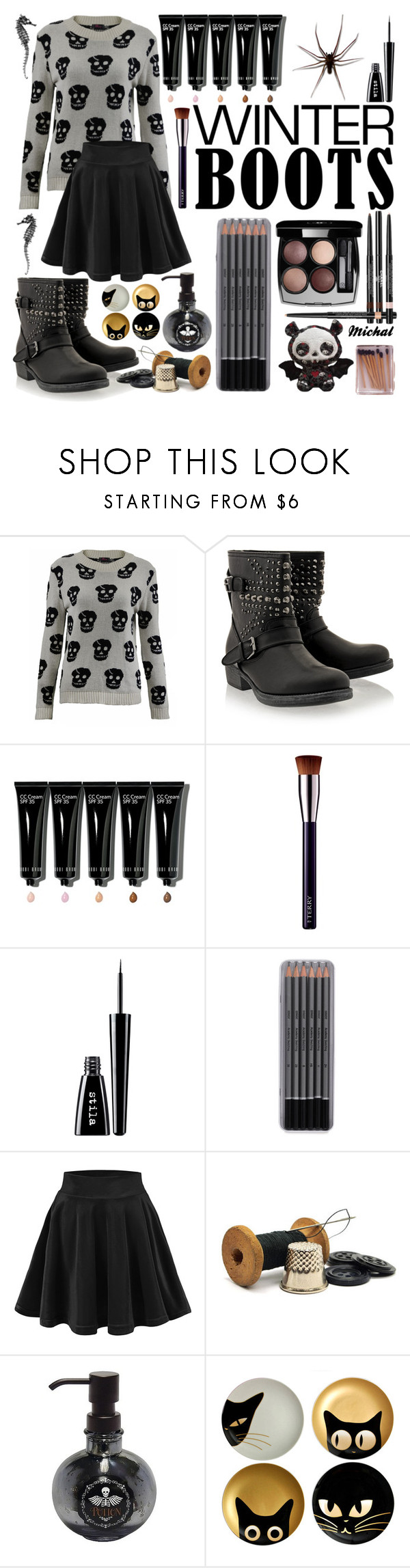"""""""Winter Boots"""" by michal100-15-4 ❤ liked on Polyvore featuring Timeless, Bobbi Brown Cosmetics, By Terry, Stila, Chanel, Evergreen and winterboots"""