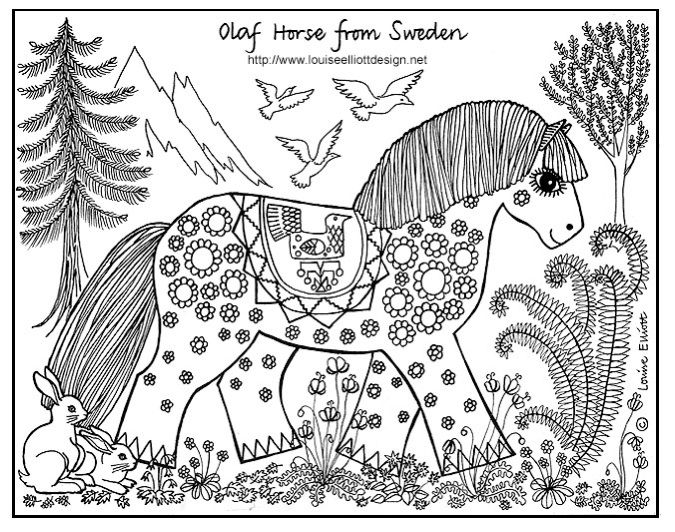 Swedish Design Horse Coloring Page