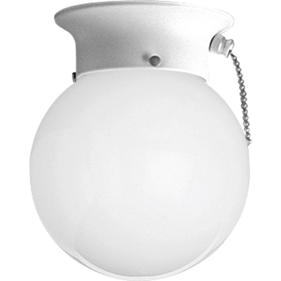 Progress Lighting Glass Globes 6 In White Transitional Incandescent Flush Mount Light P3605 30sw In 2020 Progress Lighting Pull Chain Light Fixture Flush Mount Lighting