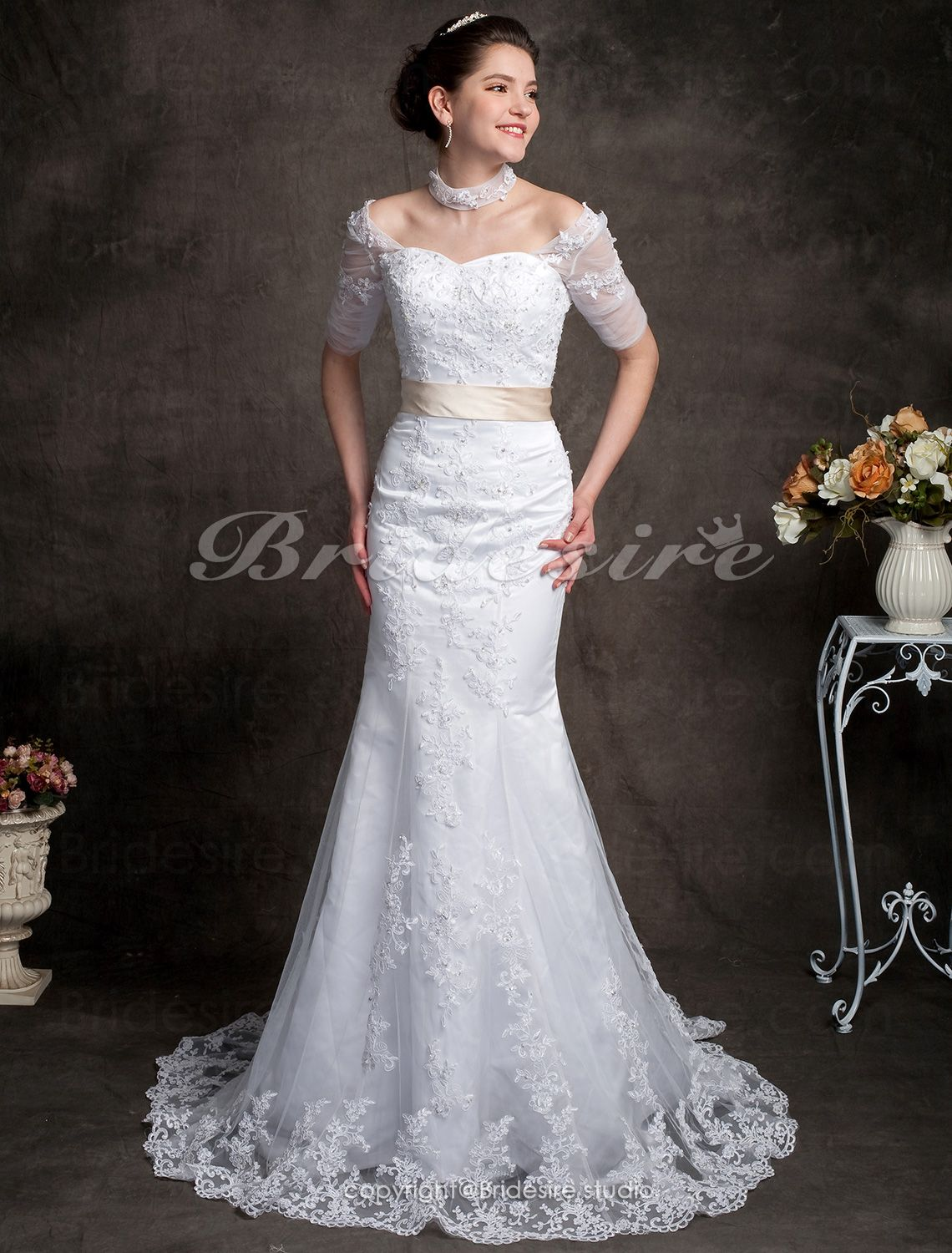 The Green Guide Trumpet Mermaid Lace Chapel Train Off Shoulder Wedding