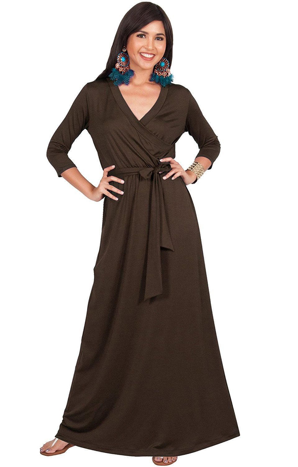 KOH KOH Womens Long Sleeve Casual Cocktail Flowy V-Neck Gown Maxi ...