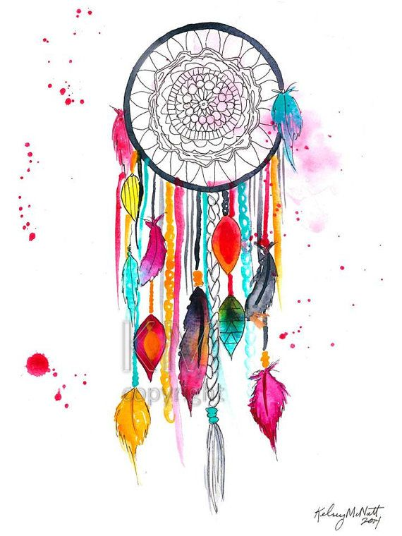 Dream catcher 3 watercolor painting home decor native for Dream of painting a room white