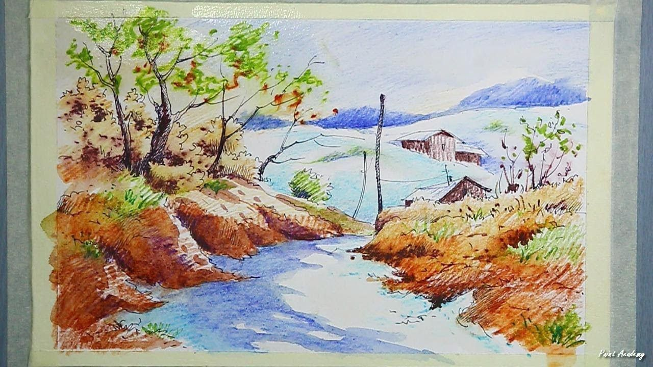 Watercolor Pencil Scenery Painting Tutorial Youtube Watercolor
