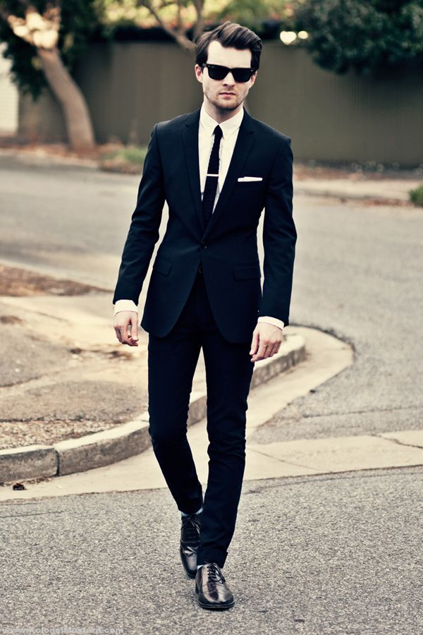 black suit men style tie sunglasses fashion style. Black Bedroom Furniture Sets. Home Design Ideas