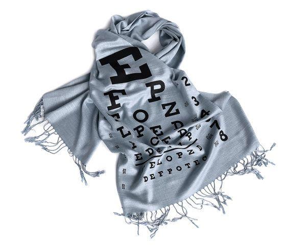 Eye Chart Scarf. Linen Weave Pashmina, Black Silkscreen