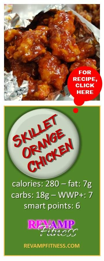 A simple low calorie recipe for Skillet Orange Chicken | Visit revampfitness.com for the BEST healthy recipes, weight loss and fitness advice!