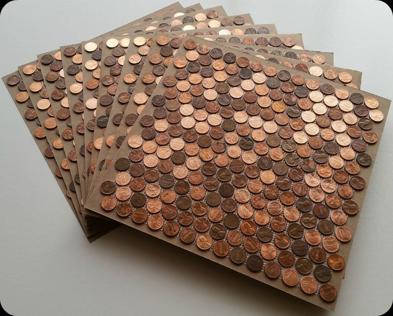Tile sheets of pennies out of the box ready to be installed ...