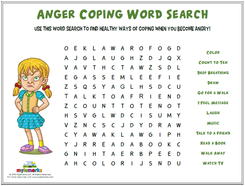 Use This Word Search To Find Healthy Ways Of Coping When You Become Angry Find This A Coping Skills Activities Therapy Activities Anger Management Activities